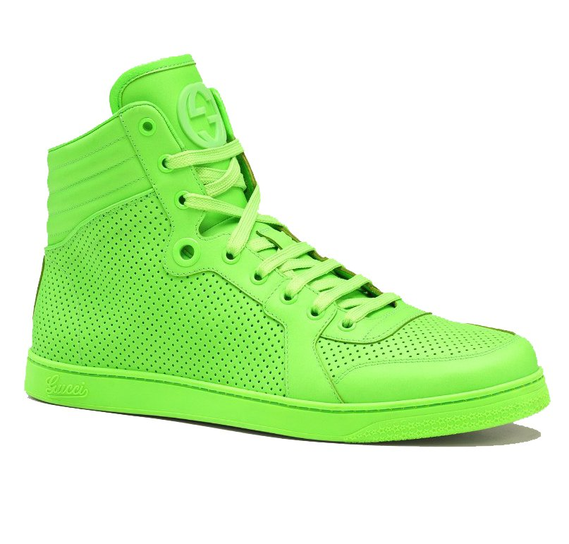 Gucci high top neon leather sneakers